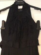 Dorothy Perkins Black Halter Neck Ruffled Dress Size 8 Vgc