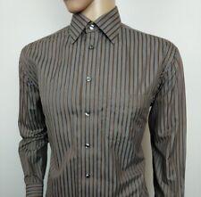 "Eton Ganghester Dress Shirt Brown Grey Stripe 16 - 41cm Chest 44"" New RRP£120"