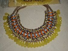 ASOS NEUF COLLIER PLASTRON CHAINE PERLES JAUNE NECKLACE CORD AND STONE YELLOW