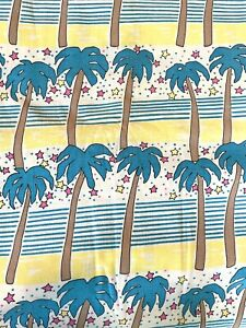 Vtg 70s/80s Palm Tree Fabric Stripes Stars Yellow Blue Pink Cotton Sewing