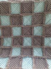 POLKA DOT BABY BOY RAG QUILT/Crib blanket/rag quilt/baby Shower Gift/blue&brown
