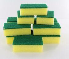 Lot of 12X Yellow Sponge Green Scrubber Scrub Scourer for Wash Clean Dish