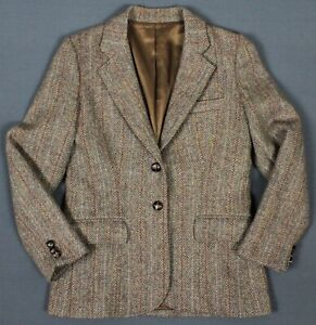 Harris Tweed Vintage USA 100% Wool 2 Button Blazer Jacket Womens 6 Brown