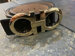 Salvatore Ferragamo Leather Belt, Gold Buckle  50/125