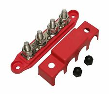 Red 38 4 Stud Power Distribution Block Busbar With Cover 38 Red