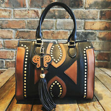 Womens Black Tan Medium Faux Leather Moda Tote Handbag & Free River Island Gift