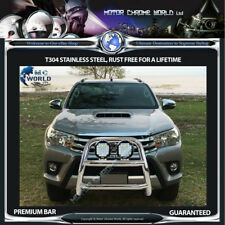 FITS TO TOYOTA HILUX BULL BAR CHROME SPOTLIGHT NUDGE A-BAR S STEEL 2015-2019 NEW