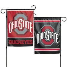 """OHIO STATE BUCKEYES 2 SIDED GARDEN FLAG 12""""X18"""" YARD BANNER  OUTDOOR RATED"""