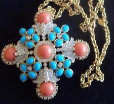 KENNETH J LANE Vintage Necklace MALTESE CROSS Coral Turquoise Cabochon Rhineston