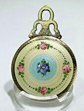 Antique Sterling Silver & Enamel Guilloche Purse Mirror Roses/Blue/White