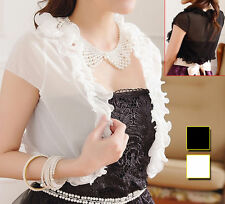 Patternless Cap Sleeve Blouses for Women