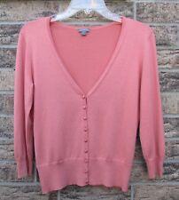 ANN TAYLOR LOFT Cardigan V-Neck Pink Size Small 3/4 Sleeve Silk Cashmere SOFT !!