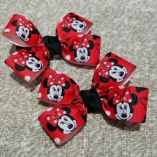 Set of 2 Minnie mouse hair bow baby girl nonslip alligator clip