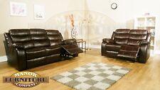 Vista 2 and 3 Seat Recliner Sofa Set Brown Leather Aire