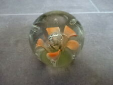 Vintage Floral Paperweight Glass Lilly