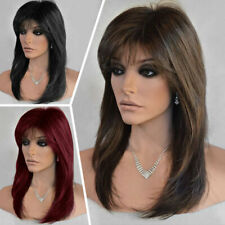 Heat Resistant Cosplay Hair Wigs Straight with Fringe Bangs Full Wig Fancy Dress