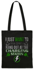 Hang Out At The Charging Station Shopper Shopping Bag BEV EV Eletric Vehicle Fun