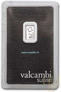 LINGOT PLATINE 1 GRAMME HERAEUS VALCAMBI PUR 999,5 CERTIFIÉ N° AA008141