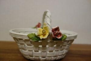 Bassano Italy Keramik Korb Gebäck Konfekt Blumen Schale Rosen Deko 18x16x14 cm