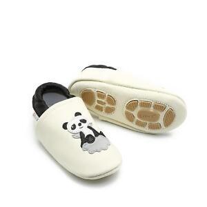 Liya's Babyschuhe Hausschuhe Lederpuschen Lauflernschuhe - #602 Panda in beige