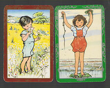 Playing Swap Cards 2 VINT GENUINE AWESOME  PLAYFUL LITTLE  BOY & GIRL #200