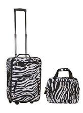"""Rockland 2 Piece Zebra Luggage Set F102-ZEBRA luggage 13"""" x 7.5"""" x 19"""" NEW"""