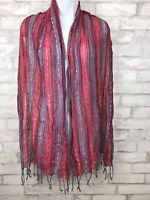 Boho Striped Woven Scarf Wrap- Pink Blue With Fringe Metallic Thread  69x19""