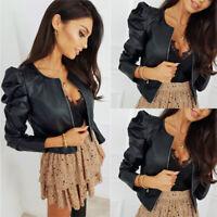 Women PU Leather Puff Sleeve Coat Ladies Winter Cropped Jacket Blazer Bomber Top