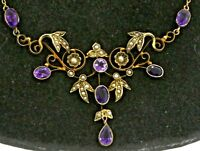 Antique English 9K gold beautiful 4.0CT amethyst & pearl floral pendant necklace