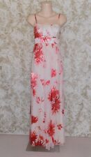 VERY VERY Sz 8 ivory red silk viscose burnt out fabric long maxi Dress As New