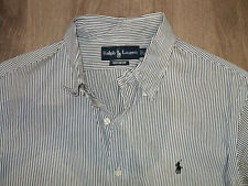 "Ralph Lauren Blue / White Stripe Long Sleeved Shirt Size 16"" Excellent Condition"