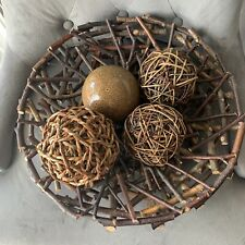 Wooden Round Tray Decorative Ball Tray With 4 Balls Included  Preloved