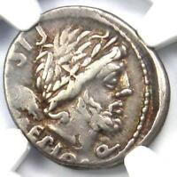 Roman L. Calp Piso Caesoninus AR Denarius Silver Coin 100 BC - Certified NGC VF