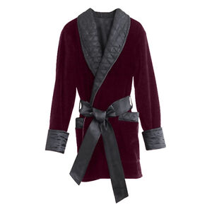 Smoking Jacket Velvet Mens - Merlot