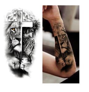 schwarz Tattoo temporary Arm Bein Body Art Sticker Klebetattoo Mann Kreuz Löwe