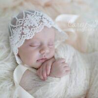 0-6M Newborn Baby Girl Photo Photography Prop Lace Floral Hat Cap Beanie Bonnet