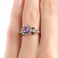 Victorian Estate 0.54 Ct Rose cut Diamond Pink Sapphire 925%Sterling Silver Ring