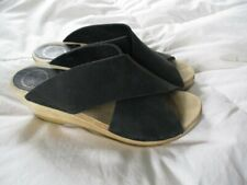 NO. 6 Frida Crisscross Black Leather Wedge Clogs 39