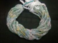 Natural Multi Aquamarine Rondelle Faceted 3-4mm Aquamarine Gemstone Beads