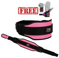 EVO Ladies Pink Weight lifting Neoprene Gym belts GEL Back Support Straps Wraps
