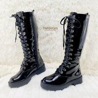 """Pleaser 5/"""" Block Heel Platform Matte Black Stretch Knee Boots Club Goth 6-14"""