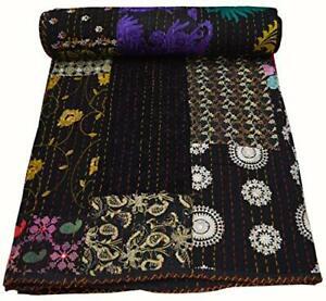 Indian Handmade Old Patola Silk Patch Kantha Quilt Kantha Blanket Bedspread