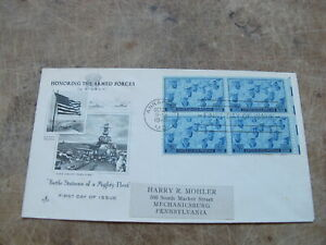 1945 USA FDC - World War 2 -Honouring The Armed Services / U.S Navy -Sailor quad