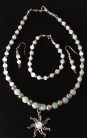 Moonstone Sunburst & Chalcedony & Silver, Bead Necklace, Bracelet & Earring Set