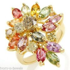 Exquisite Ring 5.17ctw Multi-Colored Sapphires & Diamonds 14K YG 9.29gr Size 9