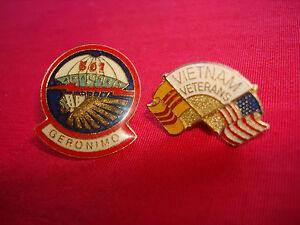 Lot Of 2 Lapel Pins: US 501st Infantry Regiment AIRBORNE + VIETNAM VETERANS