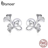 BAMOER Women Ginkgo leaf Stud Earrings S925 Sterling silver Wiredrawing Jewelry