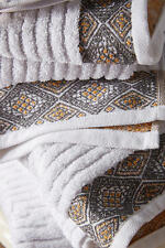NWT Anthropologie Rhombi SET OF TWO Hand Towels -White With Dark Grey/Gold Trim