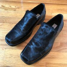 Rare Via Spiga stylish casual size 10 mens shoes black leather w/calf hair inset