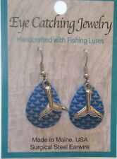 Fashion Earrings -Made with Fishing Lures- whale tale charms - blue & silver